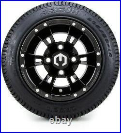 10 Ambush Glossy Black Golf Cart Wheels and Tires (205-50-10) Set of 4