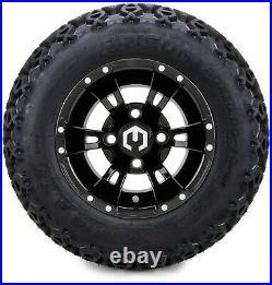 10 Ambush Glossy Black Golf Cart Wheels and Tires (20x10-10) Set of 4