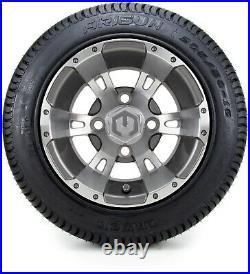 10 Ambush Gunmetal Golf Cart Wheels and Tires (205-50-10) Set of 4