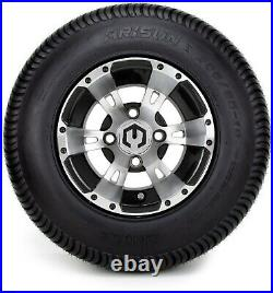 10 Ambush Machined and Black Golf Cart Wheels and Tires (205-65-10) Set of 4