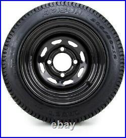 10 Black 8 Window Steel Golf Cart Wheels & Tires (205-50-10) Set of 4