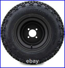10 Flat Black Steel Golf Cart Wheels & All-Terrain Tires (20x10) Set of Four