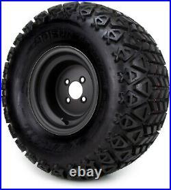 10 Flat Black Steel Golf Cart Wheels & All-Terrain Tires (22x11) Set of Four