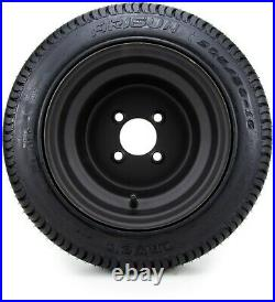 10 Flat Black Steel Golf Cart Wheels and Low Profile Tires (50-10) Set of 4