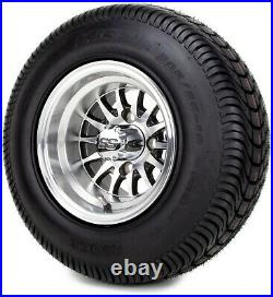 10 Medusa Machined and Black Golf Cart Wheels and Tires (205-65-10) Set of 4