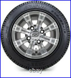 10 Tempest Gunmetal Golf Cart Wheels and Tires (205-50-10) Set of 4