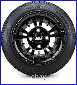 10 Vampire Glossy Black Golf Cart Wheels & Tires (205-50-10) Set of 4