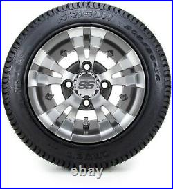 10 Vampire Gunmetal Golf Cart Wheels and Tires (205-50-10) Set of 4