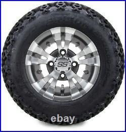 10 Vampire Gunmetal Golf Cart Wheels and Tires (20x10-10) Set of 4