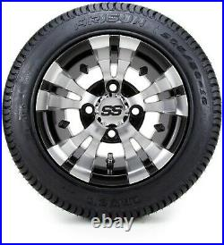10 Vampire Machined and Black Golf Cart Wheels and Tires (205-50-10) Set of 4