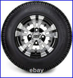 10 Vampire Machined and Black Golf Cart Wheels and Tires (205-65-10) Set of 4