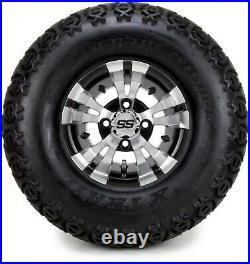 10 Vampire Machined and Black Golf Cart Wheels and Tires (22x11-10) Set of 4