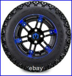 12 Aftershock Blue and Black Golf Cart Wheels and Tires (23x10.50-12) Set of 4