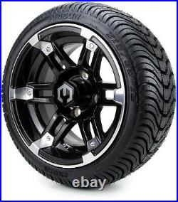 12 Aftershock Machined & Black Golf Cart Wheels and Tires (215-35-12) Set of 4