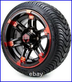 12 Aftershock Red and Black Golf Cart Wheels and Tires (215-35-12) Set of 4