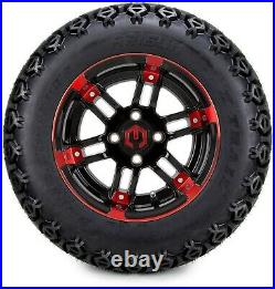 12 Aftershock Red and Black Golf Cart Wheels and Tires (23x10.50-12) Set of 4