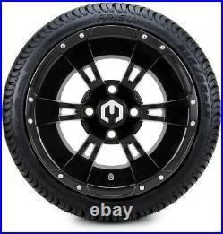 12 Ambush Glossy Black Golf Cart Wheels and Tires (215-35-12) Set of 4