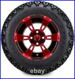 12 Ambush Red and Black Golf Cart Wheels and Tires (23x10.50-12) Set of 4