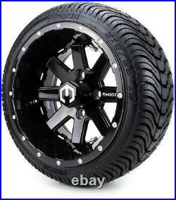 12 Assault Black will Ball Mill Golf Cart Wheels and Tires (215-35-12) Set of 4