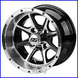 12 Azusa Blk/Mch Golf Cart Wheel (Set of 4)