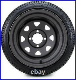 12 Black Steel 8 Spoke Golf Cart Wheels and Tires (215-35-12) Set of 4