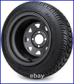 12 Black Steel 8 Spoke Golf Cart Wheels and Tires (215-50-12) Set of 4