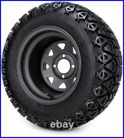 12 Black Steel 8 Spoke Golf Cart Wheels and Tires (23x10.50-12) Set of 4