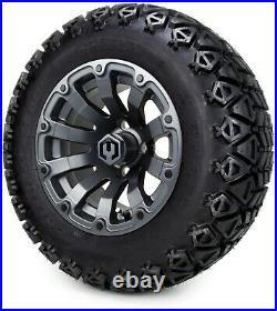12 Bomber Matte Gunmetal Golf Cart Wheels and Tires (23x10.50-12) Set of 4