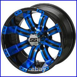 12 Casino Blk/Blue Golf Cart Wheel (Set of 4)