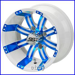 12 Casino White/Blue Golf Cart Wheel