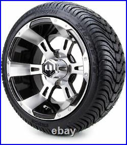 12 MODZ Ambush Machined Black Golf Cart Wheels and Low Profile Tires Combo
