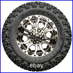 12 Omega Machined Black Golf Cart Wheels and All Terrain Tires Combo Set of 4