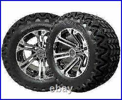12 Specter Machined & Black Wheels 23 All Terrain Tires Golf Cart Lifted