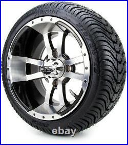 12 Storm Trooper Machine & Black Golf Cart Wheels and Tires 215-35-12 Set of 4