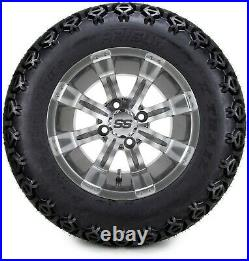 12 Tempest Gunmetal Golf Cart Wheels and Tires (23x10.50-12) Set of 4