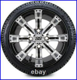 12 Tempest Machine and Black Golf Cart Wheels and Tires (215-35-12) Set of 4