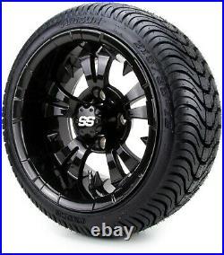 12 Vampire Glossy Black Golf Cart Wheels and Tires (215-35-12) Set of 4