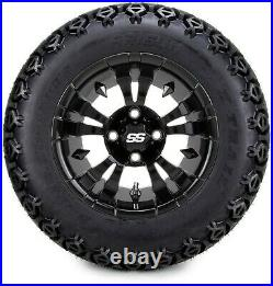 12 Vampire Glossy Black Golf Cart Wheels and Tires (23x10.50-12) Set of 4