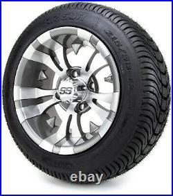 12 Vampire Gunmetal Golf Cart Wheels and Tires (215-50-12) Set of 4