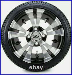 12 Vampire Machined & Black Golf Cart Wheels and Tires (215-35-12) Set of 4