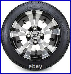 12 Vampire Machined & Black Golf Cart Wheels and Tires (215-50-12) Set of 4