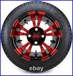 12 Vampire Red and Black Golf Cart Wheels and Tires (215-50-12) Set of 4