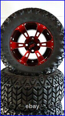 12'' golf cart wheel and DOT tire assembly, RED & BLACK Storm trooper