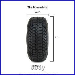 14 Ambush Red and Black Golf Cart Wheels and Tires (205-30-14) Set of 4