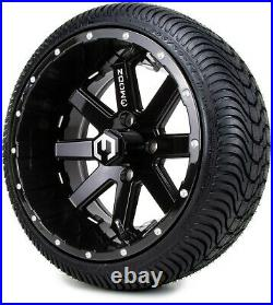 14 Assault Black with Ball Mill Golf Cart Wheels and Tires (205-30-14) Set of 4