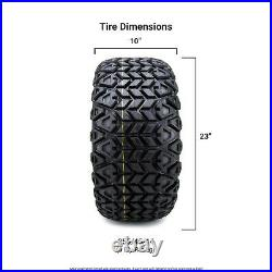 14 Assault Black with Ball Mill Golf Cart Wheels and Tires 23x10.00-14 Set of 4