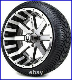 14 Assault Machined and Black Golf Cart Wheels and Tires (205-30-14) Set of 4