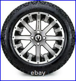 14 Assault Machined and Black Golf Cart Wheels and Tires 23x10.00-14 Set of 4