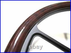 14 Billet Black 5 Hole Steering Wheel Burlwood Set for Yamaha Golf Cart & Rhino