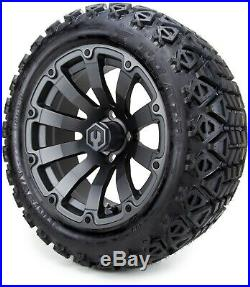 14 Bomber Matte Gunmetal Golf Cart Wheels and Tires (23x10.00-14) Set of 4